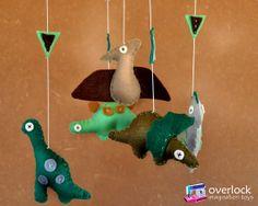 dinosaurs mobile  Felt Baby Mobile   Felt  by overlockstudio, $80.00