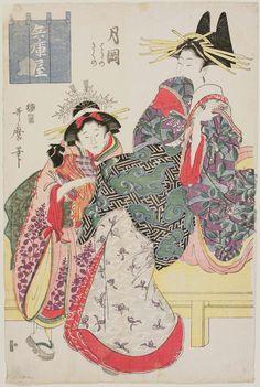Artist Kitagawa Utamaro I (Japanese, (?)–1806). Tsukioka of the Hyôgoya, kamuro Hagino and Kikuno, from an untitled series of courtesans | Museum of Fine Arts, Boston