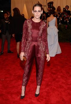 The Met Gala 2013 PUNK: Chaos to Couture exhibition at the Metropolitan Museum of Art | burgundy red