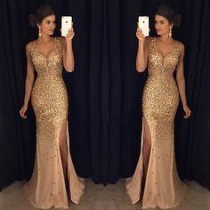 2017 Gold Rhinestone Sparkle Sexy Side Slit Long Mermaid Prom Dresses