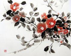 Ink Painting Japanese art Asian art Suibokuga Sumi-e by Ella Saridi