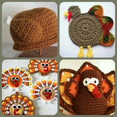 Check out this found image collage of crocheted turkeys I made! They're totes inspiring crafty projects to gobble over, amirite? Rite, cuz the bird is the word! Hehe! :D