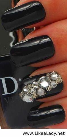 Black Dior Fashion Nail Art