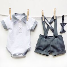 Grey Pinstripe Page Boy Outfit Baby Boy Wedding by mabelretro