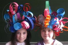 I could use this for crazy hat day.Paper strip hats using curled, folded and shaped paper strips. Approved by Andrea Beaty, author of Happy Birthday Madame Chapeau. Kids Crafts, Projects For Kids, Diy For Kids, Art Projects, Hat Crafts, Crazy Hat Day, Crazy Hats, Candy Land Party, Silly Hats