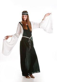 DisfracesMimo, Disfraz de Dama Medieval Verde.Una línea sencilla y elegante, con mangas anchas que te otorgarán un aire señorial.Este disfraz es ideal para tus fiestas temáticas de disfraces epoca y medievales para la edad media de mujer adultos.