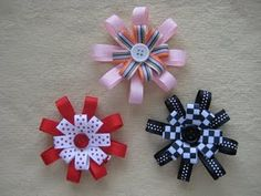 Hairbows! *** once you make one you can tweak it very easy and make all kinds - different widths of ribbon and different center pieces - they also hot glue onto headbands very easy!!!!
