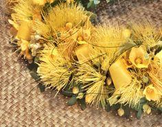 Yellow Lehua/Ilima/Kaunaoa Vines/Yellow Ti/Palapalai Fern Haku Lei