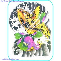 Koi & Flower Tattoo Design 211 for you on Etsy. Top quality high resolution color design, with tattoo stencil outline. Instant download only $1.95. Get the body art you deserve. Many other designs.