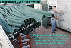 Learn how to make and install a retractable shade screen; includes details on working with shade screen, grommets, and wire cable. Deck Shade, Pergola Shade, Pergola Canopy, Outdoor Shade, Tarp Shade, Garden Shade, White Pergola, Shade Canopy, Pergola Swing