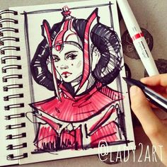 Padme Amidala from Star Wars. You can see much more on my Instagram: instagram.com/lady2art/ And now you can buy 2016 planner (start at any month in 2016/choose inside) with my arts on th...
