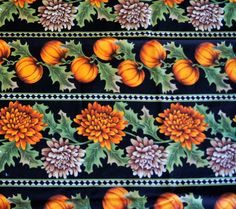"3 Yds Pumpkins Asters on Black Striped Fall Harvest Cotton Fabric 116"" X 45"""