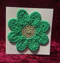 Crochet Greetings Card - Flower - pinned by pin4etsy.com