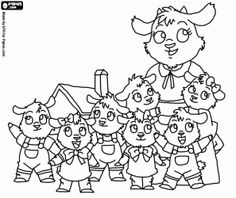 Pintar Les set cabretes amb la seva mare a prop de casa Coloring For Kids, Coloring Pages For Kids, Coloring Books, Wolf, Billy Goats Gruff, Cumple Toy Story, Preschool Prep, Online Drawing, Book Crafts