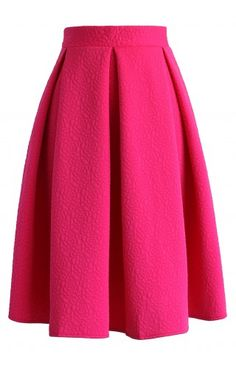 Reminisce From Rose Embossed Midi Skirt in Hot Pink - CHICWISH SKIRT COLLECTION - Skirt - Bottoms - Retro, Indie and Unique Fashion