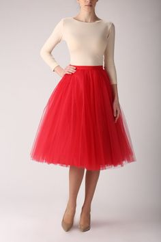 Tulle skirt, long petticoat, high quality tutu skirts, tulle tutu, tea length tutu on Etsy, $176.21