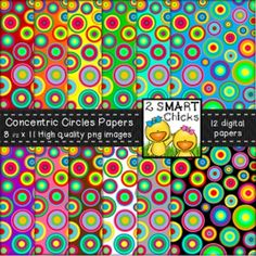 Beautify your products with our Concentric Circles Papers! 12 vibrant PNG file images are included in this set! Once purchased, digital papers can be used for personal or commercial purposes. Kindly remember to include a link back to our TPT store: http://www.teacherspayteachers.com/Store/2-Smart-ChicksHappy creating!Cant get enough of the Concentric Circles theme?