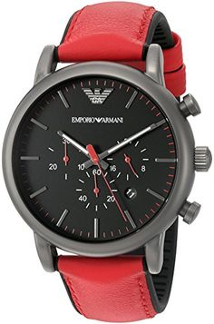 Emporio Armani Men's Quartz Stainless Steel and Silicone Automatic Watch, Color:Red (Model: AR1971)