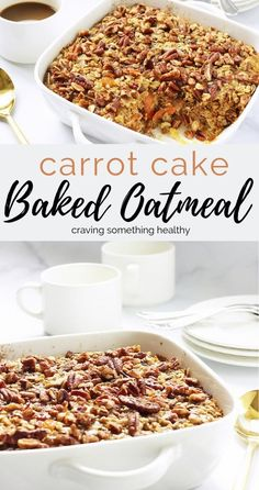 Carrot Cake Baked Oatmeal Is Perfect For A Holiday Breakfast Or Brunch. It Feeds A Crowd, And Tastes Like Dessert Even Though It's Healthy Cravingsomethinghealthy Breakfast Vegan Brunch Recipes, Healthy Brunch, Healthy Breakfast Recipes, Gourmet Recipes, Healthy Eating, Amish Recipes, Healthy Meals, Free Recipes, Brunch Food
