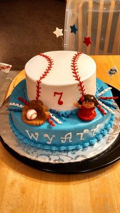 Butter cream frosting Baseball with glove and ball cake for a special guy Wyatt who turned A huge baseball fan .he requested a dora ca. Baseball Glove Cake, Dora Cake, Baseball Birthday, Buttercream Frosting, Fondant, Gloves, Birthday Cake, Guy, Cakes