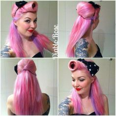 Beautiful long pink pinup hair style with victory roll.