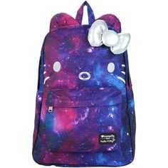Loungefly Hello Kitty Galaxy Canvas Backpack Hot Topic ($40) ❤ liked on Polyvore featuring bags, backpacks, padded backpack, canvas zipper bag, bow backpack, embroidered backpacks and blue backpack
