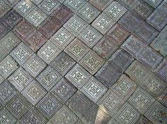 Star pattern bricks were used to pave many sidewalks in the older districts of Richmond, Indiana.