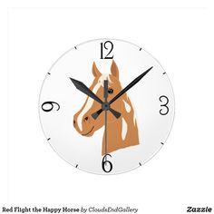 Red Flight the Happy Horse Round Clock - horse animal horses riding freedom Horse Riding, Clock, Horses, Display, Happy, Artwork, Prints, Red, Freedom