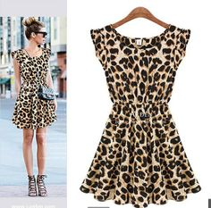 4c25c20af4b spring 2014 sleeveless print T-shirt slim waist leopard dress for womens  sexy dress Free
