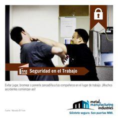 ¡Excelente miércoles! Difunde entre tus contactos el tip de #Seguridad en el Trabajo de hoy: Evita jugar, bromear o ponerle zancadilla a tus compañeros en el lugar de trabajo: ¡muchos accidentes comienzan así!