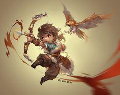 The amazing digital art of WenXu Xu Game Character Design, Character Concept, Character Art, Concept Art, Character Reference, Character Inspiration, Cartoon Styles, Cartoon Art, Archer Pose