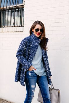 Blue Tweed Coat - Dallas Wardrobe - Blue Tweed Coat – Dallas Wardrobe Source by whatnicolewore - Dallas Wardrobe, Look Blazer, Tweed Coat, Cold Weather Fashion, Casual Outfits, Blue Outfits, Winter Coats Women, Lifestyle Blog, Warrior Fashion