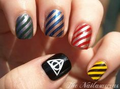 Harry potter nails replace the deathly hallows sign with the lightning scar