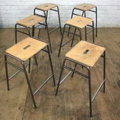 Vintage School Laboratory Stacking Stools - only 8 now left in stock Mid Century Furniture, Antique Furniture, Furniture Chairs, Hot Dog Restaurants, Home Goods Decor, Home Decor, Vintage Stool, Outdoor Lounge Chair Cushions, Plastic Adirondack Chairs