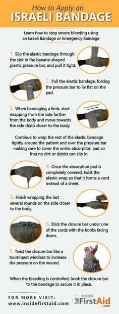 Stop severe bleeding using an Israeli Bandage, also known as emergency bandage. This infographic is very useful for the EMT community, paramedics, first aid responders and the general public interested in first aid. Learn more about the Israeli Bandage in http://recert911.work/