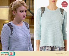 Lennox's blue sweater with beaded shoulders on Melissa and Joey. Outfit Details: http://wornontv.net/27359 #MelissaandJoey #fashion