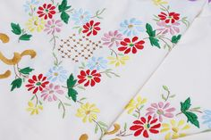 embroidered tablecloth by dutch blue