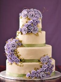 Wedding cake purple flower lavander with green accent cream ivory elegant