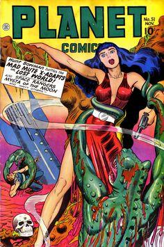 Planet Comics – Page 4 – Pulp Covers Sci Fi Comics, Old Comics, Horror Comics, Vintage Comic Books, Vintage Comics, Comic Books Art, Science Fiction Art, Pulp Fiction, Fiction Novels