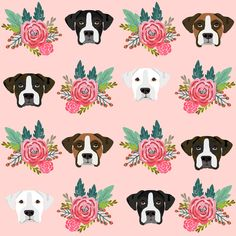 boxer dog fabric boxer dogs fabric boxer heads design - pink florals by petfriendly