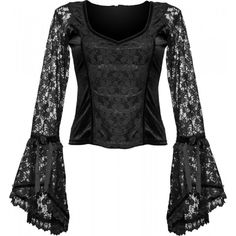 Black velvet womens top by Sinister clothing, with gothic lace sleeves, sweetheart neck and lace bodice.
