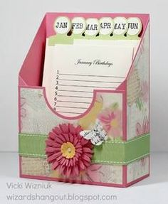 Wizard's Hangout: Lucy Birthday Card Keeper - super cute - great gift idea - 2013 goal: birthday cards to my fav peeps 3d Paper Crafts, Paper Crafting, Diy And Crafts, Paper Gifts, Card Tutorials, Scrapbook Cards, Scrapbook Photos, Scrapbook Paper Crafts, Craft Fairs