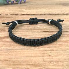 Black /& charcoal flat cotton surfer bracelet or anklet