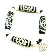 Stretch Bracelet Bone Bead Bracelet Horn Bead by SueSanderDesigns
