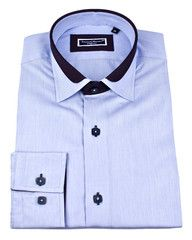 Designer slim fit dress shirt with unique details and double collar by Franck Michel .$129.00