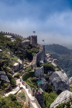I would love to discover my family roots and tour Portugal. Castle of the Moors, Sintra, Portugal. Its fantastic to walk along on top of the wall walkway and imagine it being Sintra Portugal, Spain And Portugal, Dream Vacations, Vacation Spots, Places To Travel, Places To See, Places Around The World, Around The Worlds, Wonderful Places