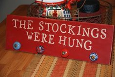 cute idea for hanging Christmas stockings without a mantle!