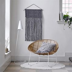 Wall hanging and rattan rocking chair Outdoor Garden Furniture, Rattan Furniture, Woven Wall Hanging, Hanging Chair, Rattan Rocking Chair, Small Grey Bedroom, Adirondack Chair Plans, Rattan Side Table, Small Living Room Chairs