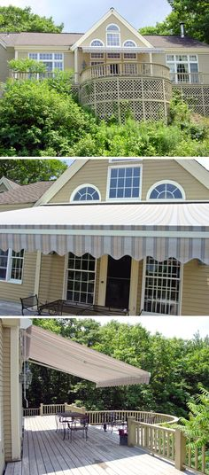 Nuimage Awnings Nushade Retractable Patio Awning Is Shown Here And Is Available In Over 200 Fabric Options Affordable And Easy To Install