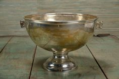 Vintage French Louis Roederer Champagne Bucket with Double Horse Head Detail Silverplate, Circa 1960